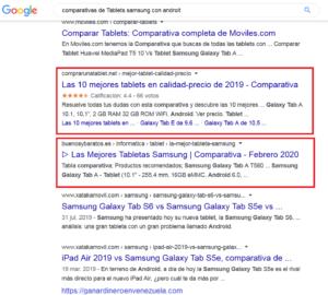 ejemplos de comparativas entre dos páginas web